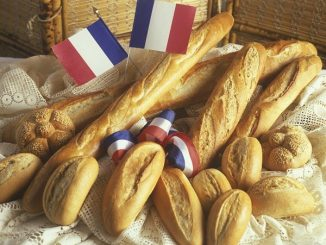 French bakery products with flags