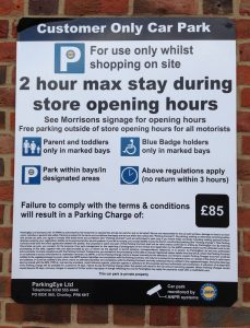Signage in Morrisons car park Reigate