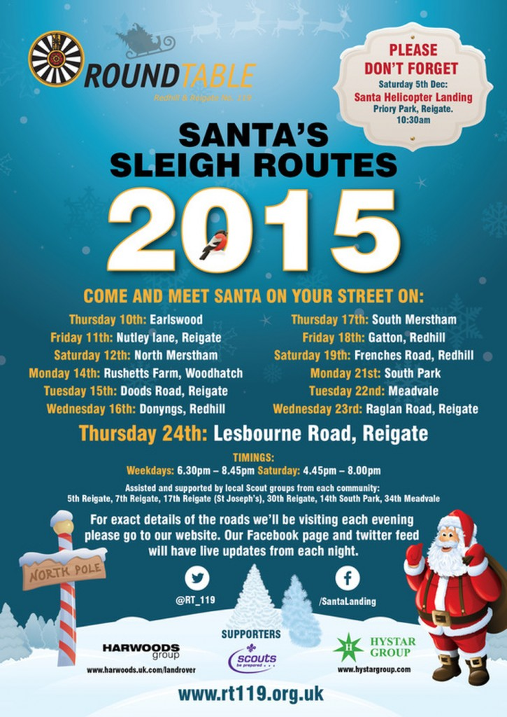 Santa sleigh routes poster