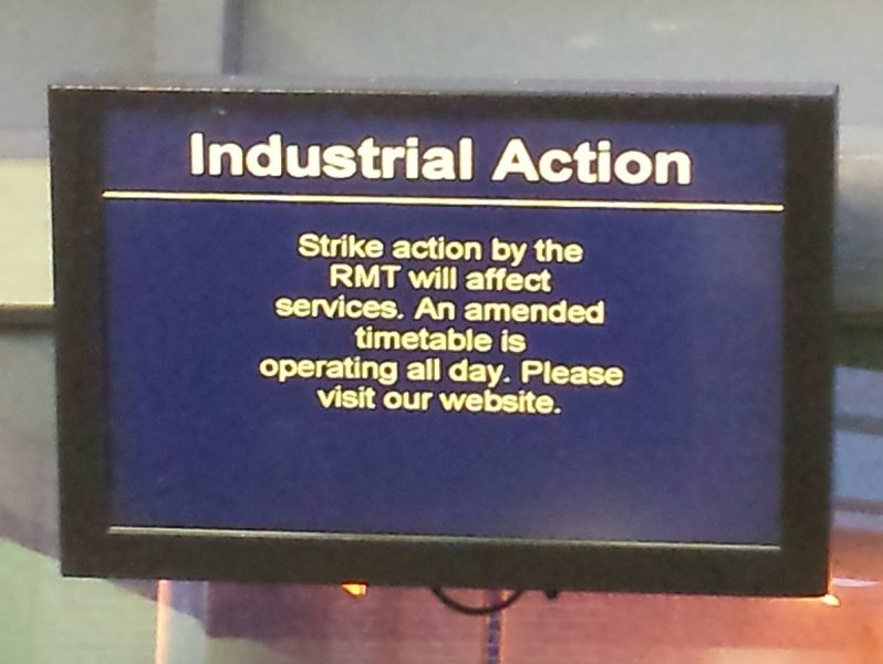 industrial action message displayed on monitor at reigate train station 8 Aug 2016