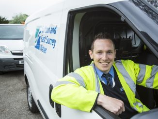 sutton and east surrey water man in van library picture